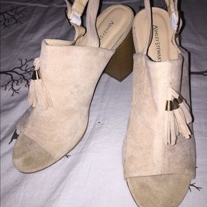 Open Toed Sling back Thick Heeled with Fringe